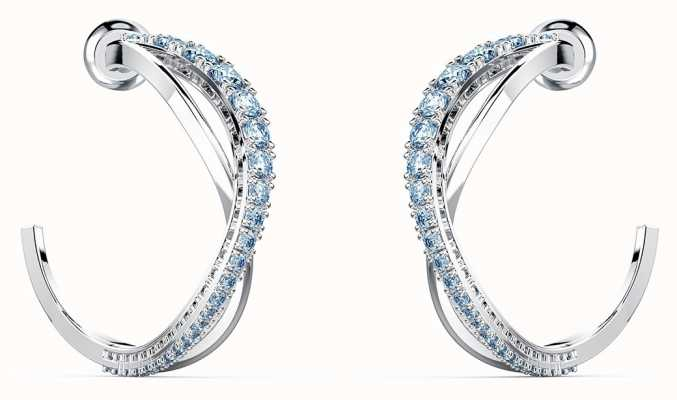 Swarovski Twist | Hoop Pierced Earrings | Rhodium Plated | Blue 5582807