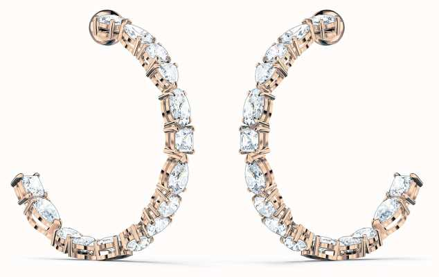 Swarovski Tennis | Mixed Hoop Pierced Earrings | RoseGold Tone | White 5585438
