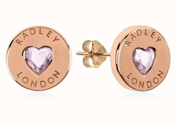 Radley Jewellery Sterling Silver 18ct Rose Gold Plated Stone Disc Earrings RYJ1138