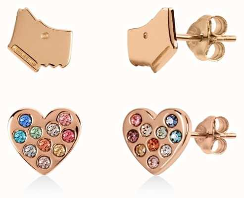 Radley Jewellery Sterling Silver 18ct Rose Gold Dog&Coloured Stone Stud Set RYJ1142
