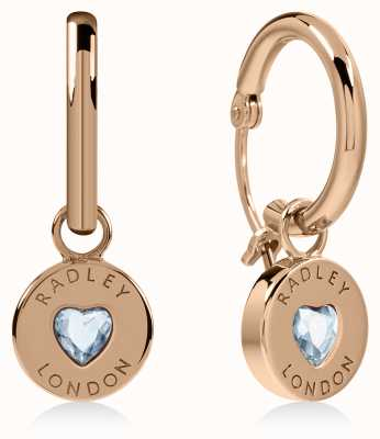 Radley Jewellery Sterling Silver 18ct Rose Gold Heart Disc Huggie Earrings RYJ1134