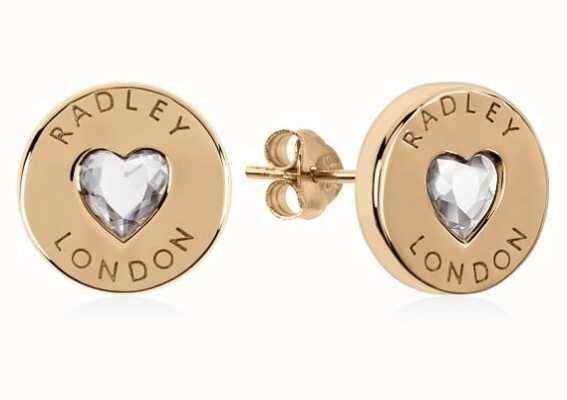 Radley Jewellery Sterling Silver 18ct Gold Plated Heart Disc Earrings RYJ1140