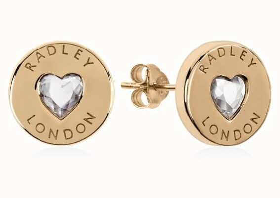 Radley Jewellery Sterling Silver 18ct Gold Plated Heart Disc Earrings RYJ1140