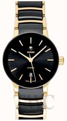 RADO Mens Centrix Automatic Black And Gold PVD Ceramic Bracelet Black Dial R30034172