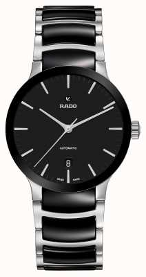RADO Mens Centrix Automatic Black Stainless Steel Ceramic Bracelet Black Dial R30941172