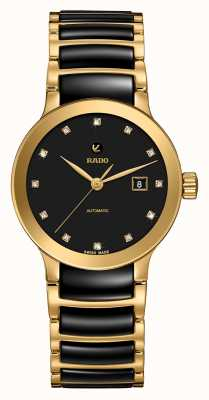 RADO Mens Centrix Automatic Diamonds Black And Gold PVD Bracelet R30080762
