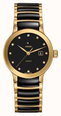 RADO Mens Centrix Automatic Diamonds Black And Gold PVD Bracelet R30080762