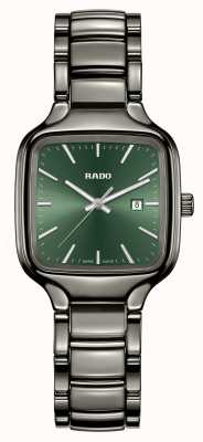 RADO True Square S Ladies Quartz Green Dial Silver Ceramic Bracelet R27079312