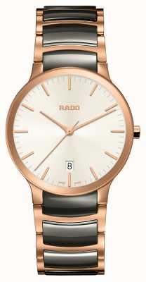 RADO Centrix Pink L Mens Black Ceramic Rose Gold PVD Plated Bracelet White Dial R30554022