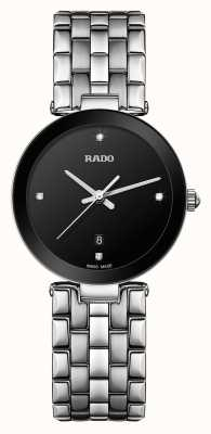 RADO Florence S Diamond Ladies Stainless Steel Bracelet Black Dial Quartz R48908713