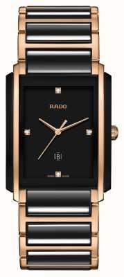 RADO Integral L Mens Black/Rose Gold PVD Plated Bracelet Diamond Black Dial R20207712