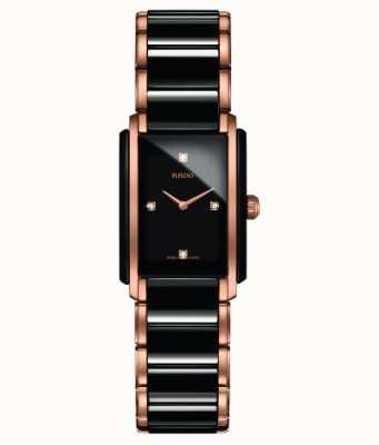 RADO Integral SM Ladies Quartz Black/Rose Gold PVD Plated Bracelet Black Dial Diamond R20612712