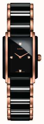 RADO Integral SM Ladies Quartz Black/Rose Gold PVD Plated Bracelet Black Dial Diamond R20612712