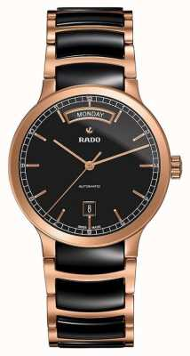 RADO Centrix L Mens Automatic Black and Rose-Gold PVD Plated Bracelet Black Dail R30158172