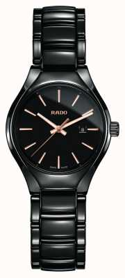 RADO True SM Ladies Quartz Black Ceramic Strap Black Dial R27059162