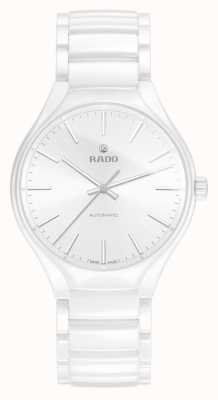 RADO True L Mens Automatic White Ceramic Strap Silver Batons R27058012