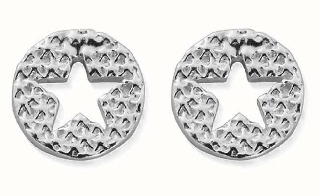 ChloBo Sparkle Star In Circle Stud Earrings | Sterling Silver SEST3072