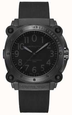 Hamilton Khaki Navy BeLOWZERO | Black Silicone Strap | Black Dial H78505330