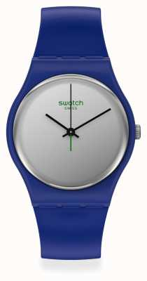Swatch SILVERWAKATI | Blue Plastic Strap | Silver Dial SO28N100
