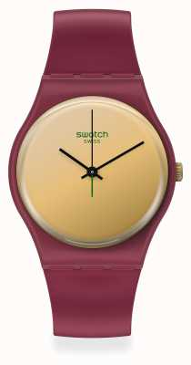 Swatch GOLDENSHIJIAN | Red Plastic Strap | Yellow/Gold Dial SO28R102