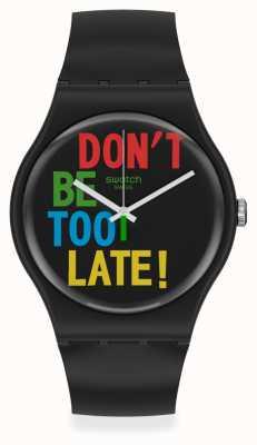 Swatch TIMEFORTIME | Black Plastic Strap | Black Dial SO29B100