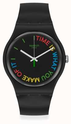 Swatch FREETID | Original Gent | Black Plastic Strap | Black Dial SO29B103