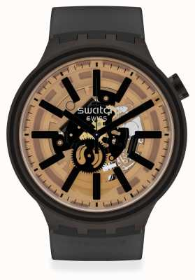 Swatch DARK TASTE | Big Bold | Black Silicone Strap | Skeleton Dial SO27B115