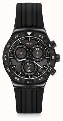 Swatch TECKNO BLACK | Black Silicone Strap | Black Dial YVB409