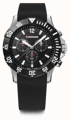 Wenger Seaforce Chrono 43mm | Black Rubber Strap | Black Dial 01.0643.118