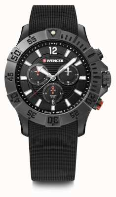 Wenger Seaforce Chrono 43mm | Black Rubber Strap | Black Dial 01.0643.120