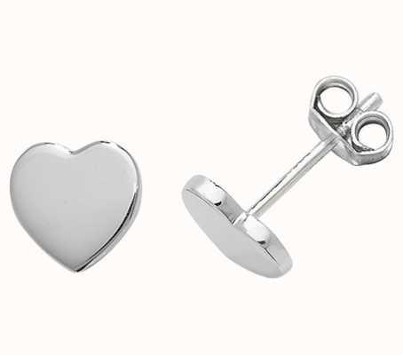 Treasure House Silver Plain Heart Stud Earrings G51049