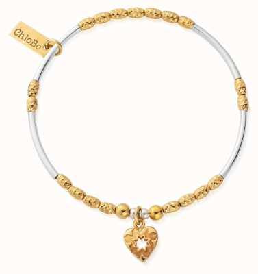 ChloBo Gold & Silver Decorated Star Heart Bracelet GMBMNSR4022