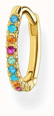 Thomas Sabo 18k Yellow Gold Plated Single Hoop Earring | Coloured Stones CR659-488-7