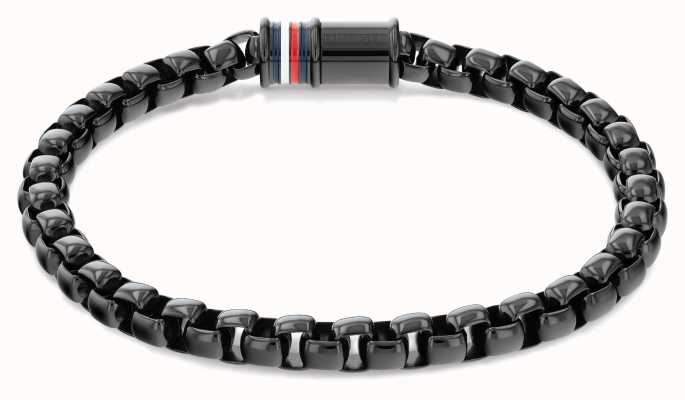 Tommy Hilfiger Men's Dressed Up Black Stainless Steel Box Chain Bracelet 2790261