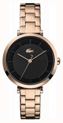 Lacoste Women's Geneva | Rose Gold Steel Bracelet | Black Dial 2001142