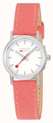 Mondaine Classic 30mm | Coral/Red Textile Strap | White Dial A658.30323.17SBP
