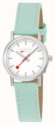 Mondaine Classic 30mm | Neo-Mint Textile Strap | White Dial | A658.30323.17SBQ