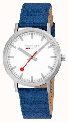 Mondaine Classic 40mm | Navy Blue Textile Strap | White Dial A660.30360.17SBD