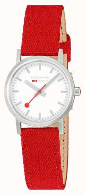 Mondaine Classic 30mm | Raspberry-Red Textile Strap | White Dial A658.30323.17SBC