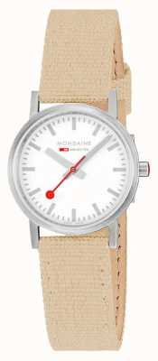 Mondaine Classic 30mm | Beige Textile Strap | White Dial A658.30323.17SBK