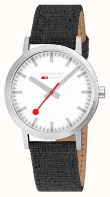 Mondaine Classic 40mm | Anthracite Textile Strap | White Dial A660.30360.17SBB