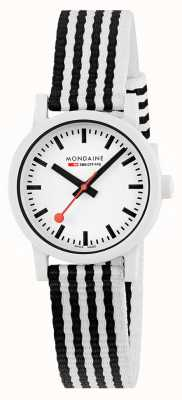 Mondaine Essence 32mm | Black/White PET Striped Strap | White Dial MS1.32110.LA