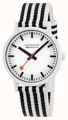 Mondaine Essence 41mm | Black/White Striped PET Strap | White Dial MS1.41110.LA
