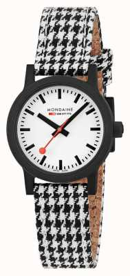 Mondaine Essence 32mm | Black/White Textile Strap | White Dial MS1.32110.LN