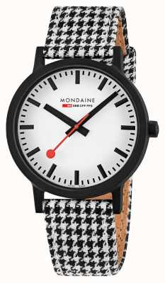 Mondaine Essence 41mm | Black/White Textile Strap | White Dial MS1.41110.LN