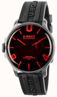U-Boat Darkmoon 44mm Red Glass Black Rubber Strap 8465