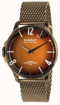U-Boat Rainbow 44mm Orange Dial Bronze IP Mesh 8468/MT