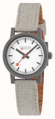 Mondaine Essence 32mm | Light Grey Textile Strap | White Dial MS1.32111.LH