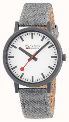 Mondaine Essence 41mm | Dark Grey Textile Strap | White Dial MS1.41110.LU