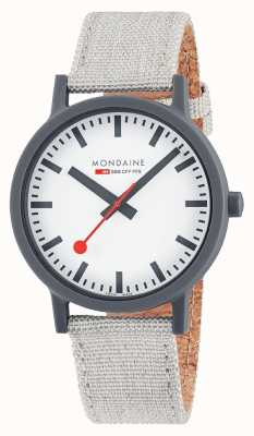 Mondaine Essence 41mm | Light Grey Textile Strap | White Dial MS1.41111.LH